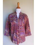 ALFRED DUNNER ~ 16 XL ORANGE PURPLE PAISLEY BUTTON DOWN BLOUSE TOP - $12.00
