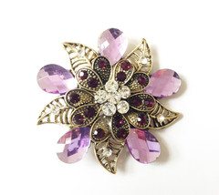 Rhinestone Crystal Flower Brooch Pin.Various colour - $9.99