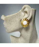 Authentic Chanel White Glass and Gold Plated Flower CC Clip Earrings - $448.00
