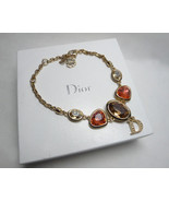 Authentic Christian Dior Glass Rhinestone Crystal D Logo Charm Bracelet - $318.00
