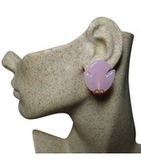 Authentic Christian Dior 1970 Vintage Pink Glass Tulip Motif Clip Earrings - $268.00