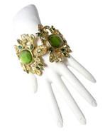 Authentic Yves Saint Laurent Green Glass Crystal Chain Statement Bracelet - $698.00