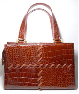 Authentic Yves St Laurent YSL Vintage Chestnut Brown Croc Embossed Handbag - $498.00
