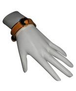 Authentic Hermes Vintage Grands H Logos Yellow Bracelet Cuff Rare - $538.00