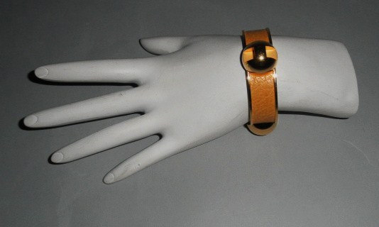 Authentic Hermes Vintage Grands H Logos Yellow Bracelet Cuff Rare
