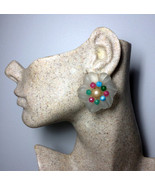 Authentic Christian Dior Vintage 1966 Glass Flower Clip Earrings - $498.00