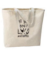 Love and Coffee New Large Canvas Tote Bag Gifts... - $19.99