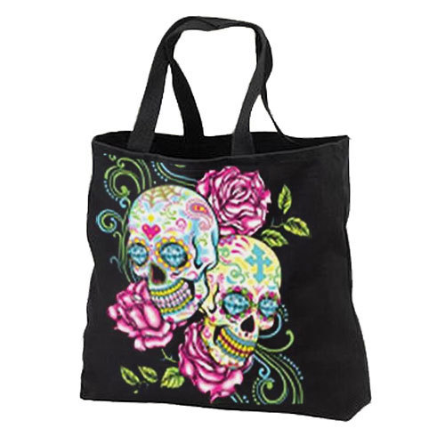 Pink Roses Sugar Skulls New Black Cotton Tote Bags Travel Shop Day of the Dead
