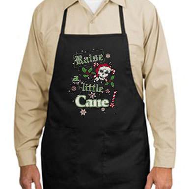 Raise A Little Cane Goth Skull Santa New Apron, Santa Coolness Year Round