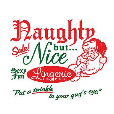 Naughty But Nice Lingerie Christmas Holiday New T Shirt S M L XL 2X 3X 4X 5X Adu