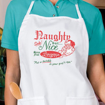 Naughty But Nice Christmas Apron Novelty Parties, Holiday Festive - $19.99