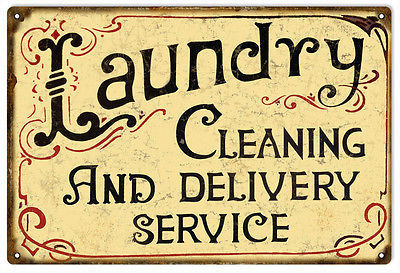 Laundry Cleaning And Delivery Service Nostalgic Ad Sign