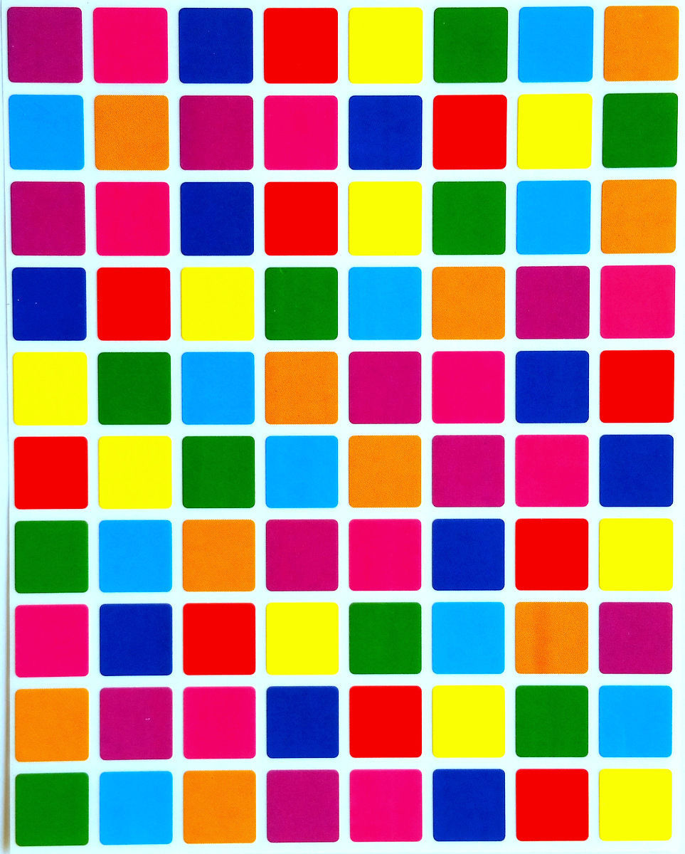 Squares Colored Coding Labels and Stickers Half Inch Semi Gloss 1200 Pack