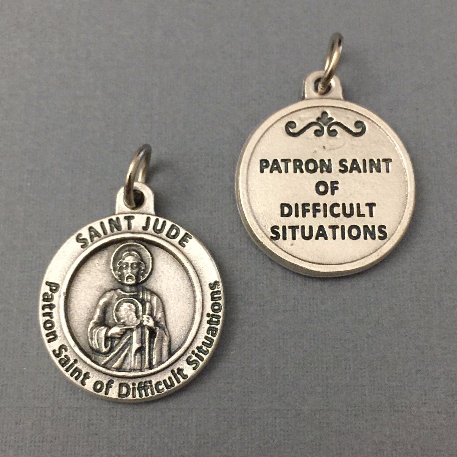 Saint Jude Patron of Difficult Situations Causes Medal Pendant Silver Tone 3/4""