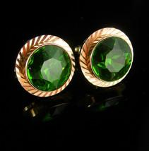 Vintage Green Jewel Cufflinks Faceted glass mens Irish cuff links gift Wedding g - $135.00