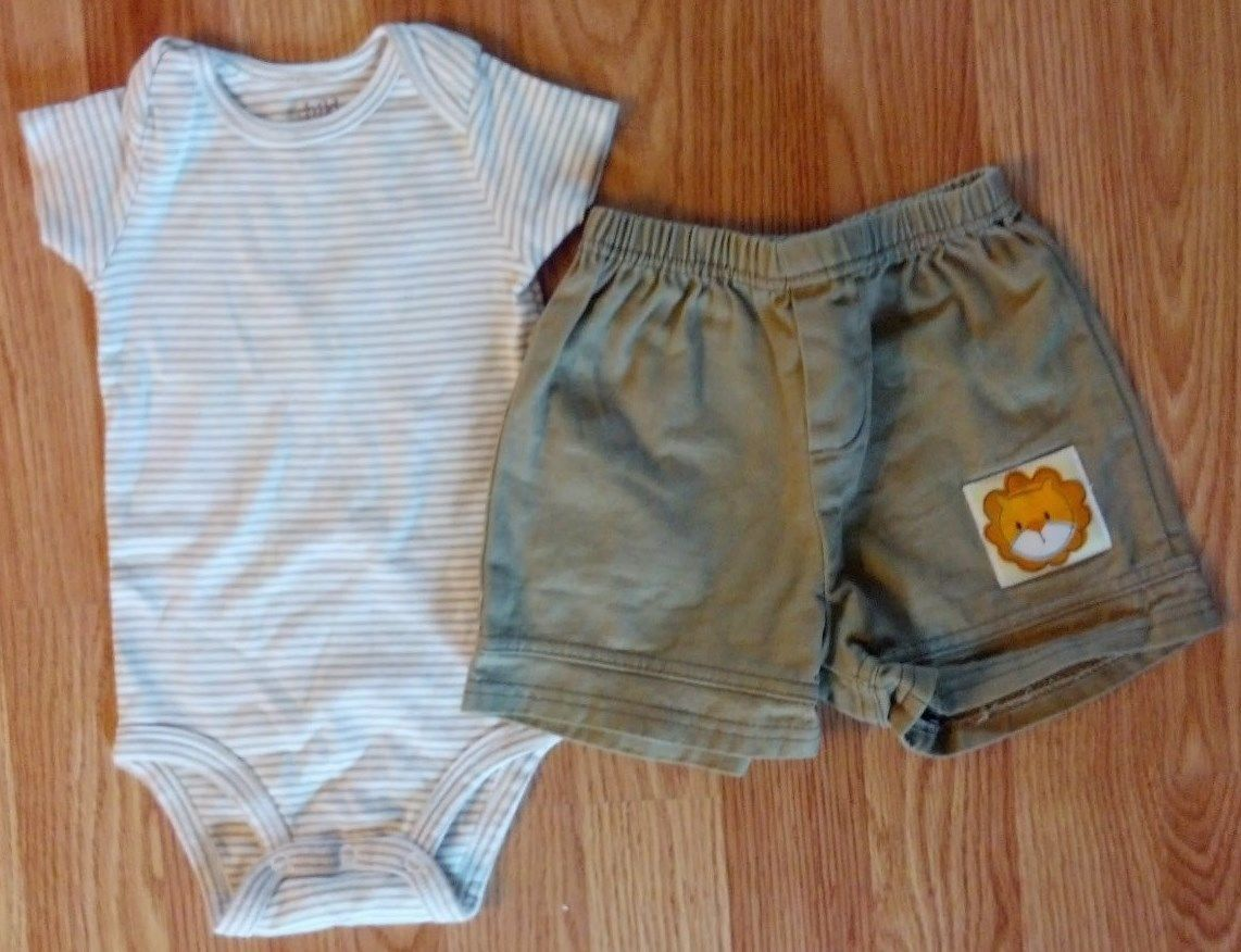 Boy's Size 6-9 M Month Two Piece Brown Striped Carter's Top & Lion Head Shorts
