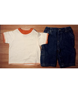 Boy's Size 3-6 M Months Two Piece Cream/ Orange Baby Q Top & Denim Sonom... - $5.85