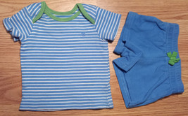 Boy's Size NB Newborn Two Piece Faded Glory Blue/ White Striped Top & Shorts - $8.12