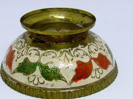 Vintage Brass Ornate Peacock Enameled Bowl on Pedestal image 9