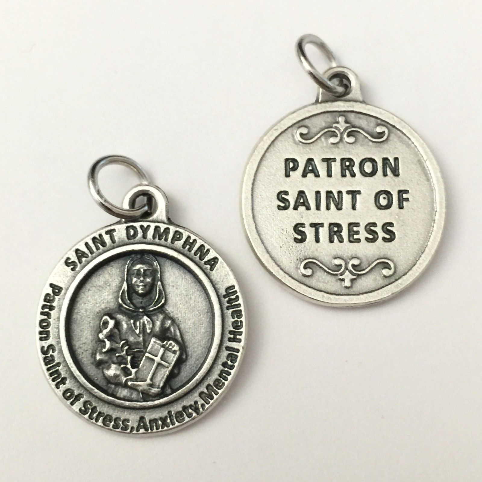 Saint St Dymphna Medal Pendant Patron of Stress Anxiety Mental Health 3/4""