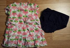 "Girl's Sz 6 M Months 2 Pc Set  White W/ Pink Floral ""Mommy's Little Cutie"" Dress - $14.00"