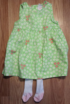 Girl's Size 3 M Month Two Piece Circo Green Floral Dress & White Carter's Tights - $12.55
