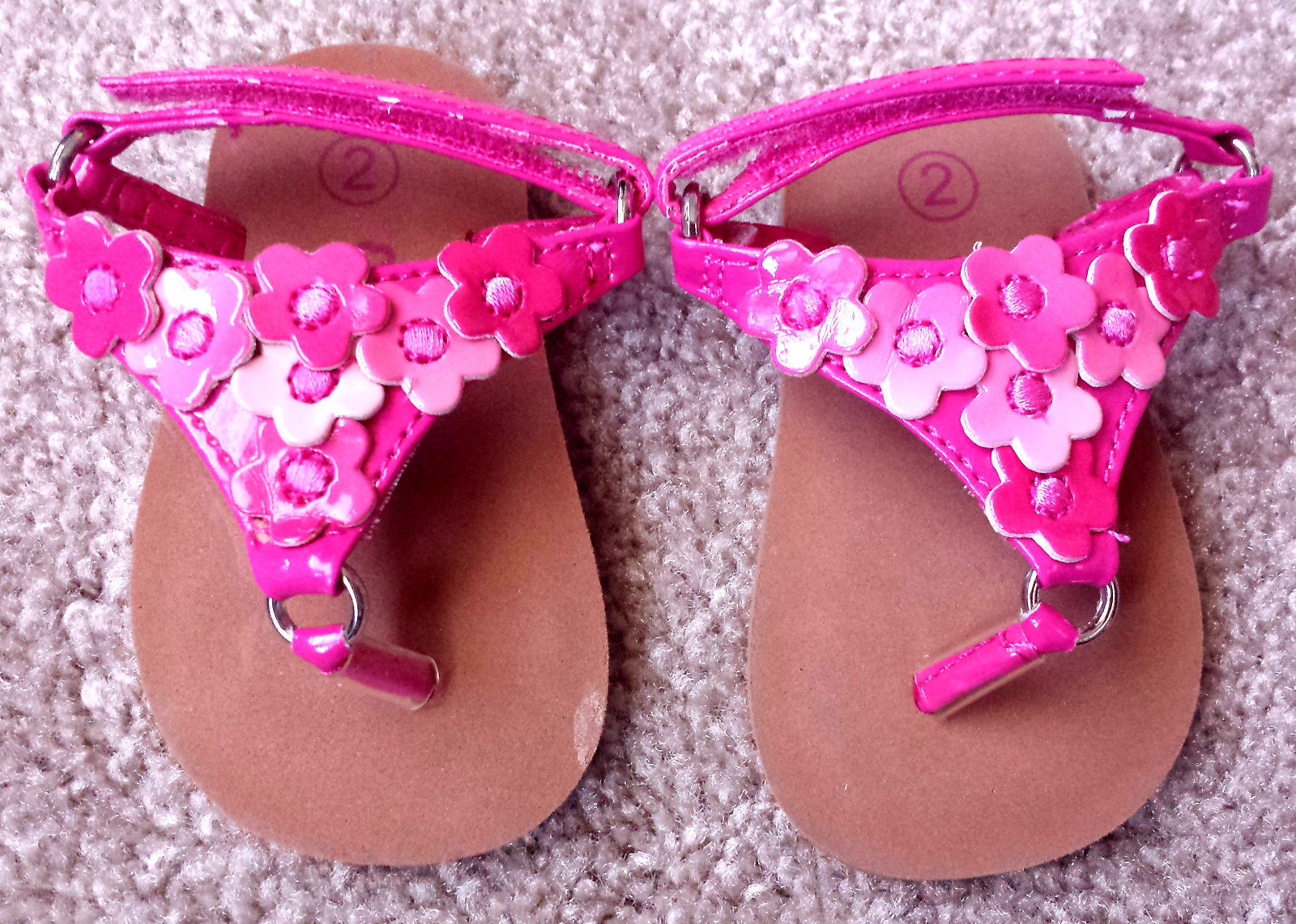 Baby Girl's Size 2 Teeny Toes Pink Floral Designed Sandals - Velcro Enclosure