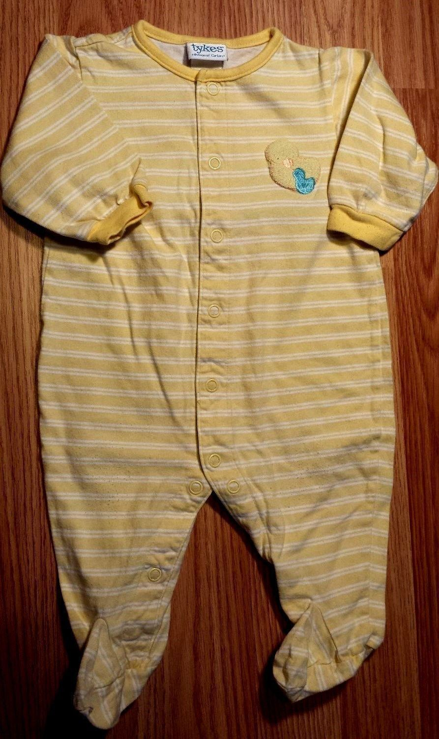 Girl's or Boy's Size 3-6 M Months Tykes Yellow Ducky Embroidered Footed Pajama