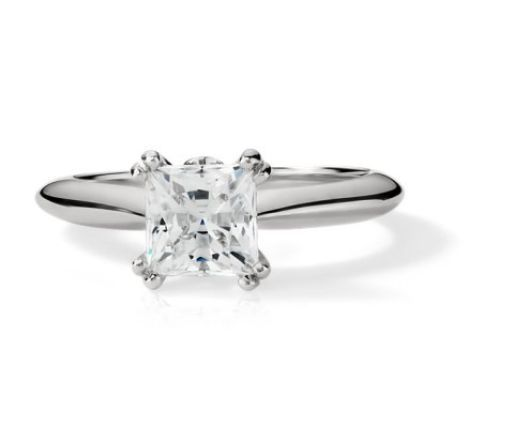 1.10CT Princess Cut Forever One Moissanite Double Prong White Gold Ring