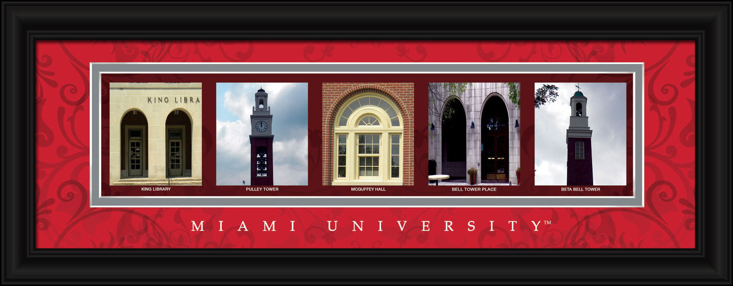 Miami (of Ohio) University Red Hawks 8 x 24 Framed Campus Letter Art Print