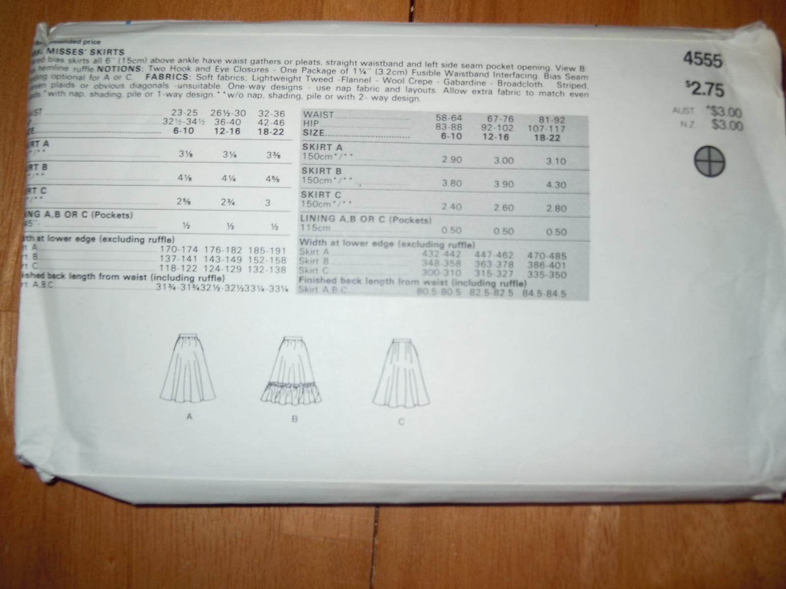 Vintage Butterick Misses Size 12-16 Skirts Pattern #4555
