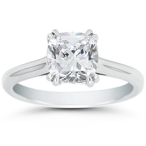 1.40CT Cushion Cut Forever One Moissanite Double Prong White Gold Ring