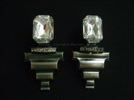 ERMANI BULATTI Faceted Clear Emerald Cut Crystal Plexiglass Clip on Earrings  - $130.00