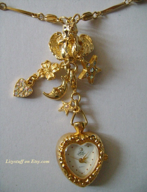 KIRKS FOLLY Hearts Angel Moon Star Gold Tone Crystal/Rhinestone Watch Necklace