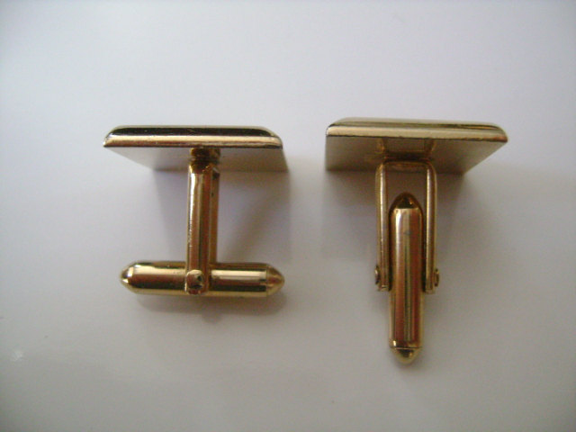 Gold-Tone Elegant Signed Swank Cuff Links Gift for Him Vintage 34 X 34 Square-Shaped With Rhinestone Set Against Black Background
