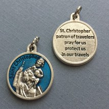 Saint Christopher Travelers Travel Protection Medal Pendant Blue Enamel 3/4 Inch - $9.99