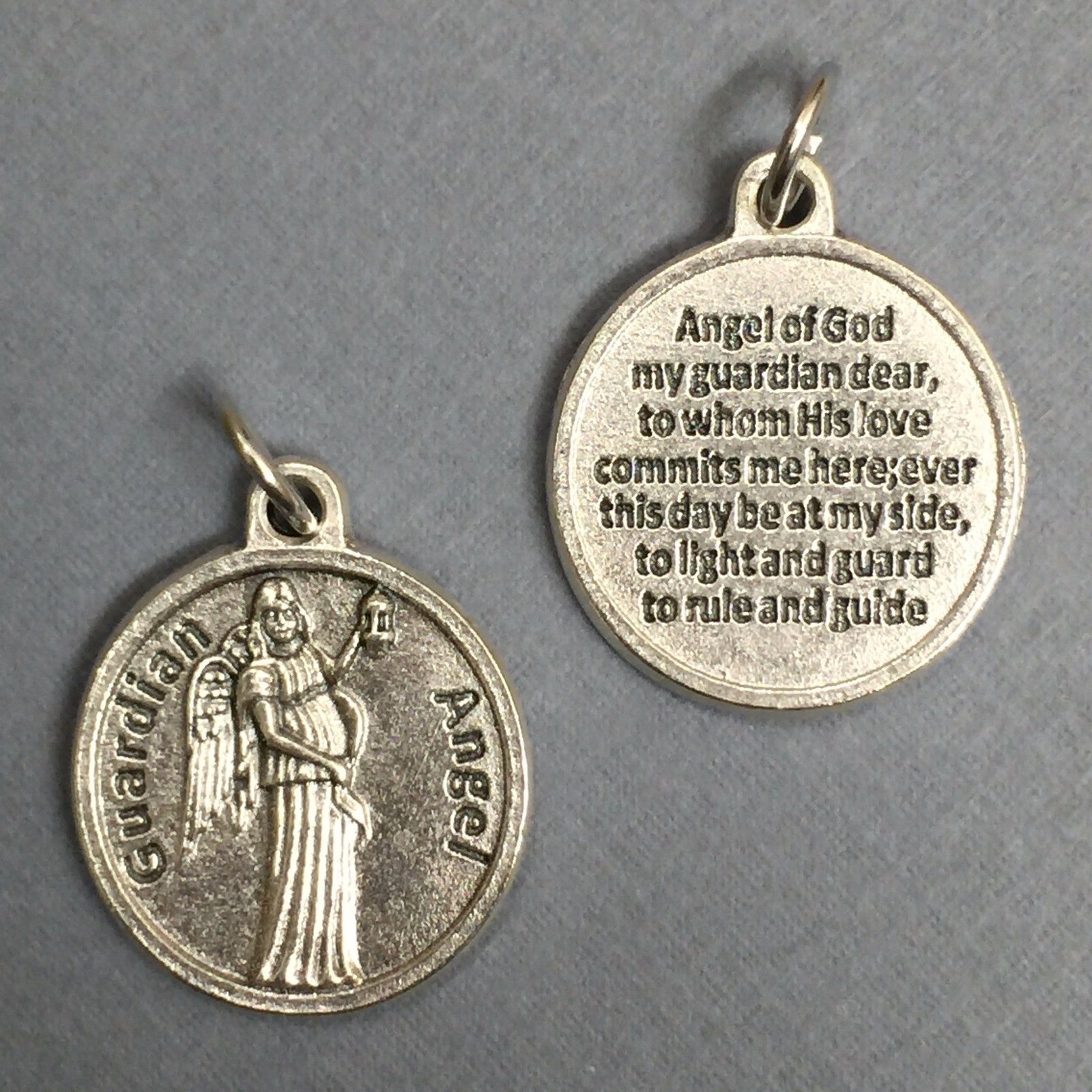 """Guardian Angel Protection Medal Pendant with Prayer Catholic Silver Tone 3/4"""""""