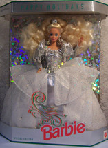 1992   HAPPY HOLIDAYS SPECIAL ED. Silver   BARBIE  NRFB - $29.69