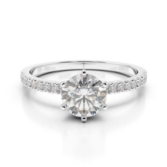 1.25CT Forever One Moissanite 6 Prong White Gold Ring With Diamonds