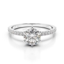 2.00CT Forever One Moissanite 6 Prong White Gold Ring With Diamonds - €1.282,55 EUR+