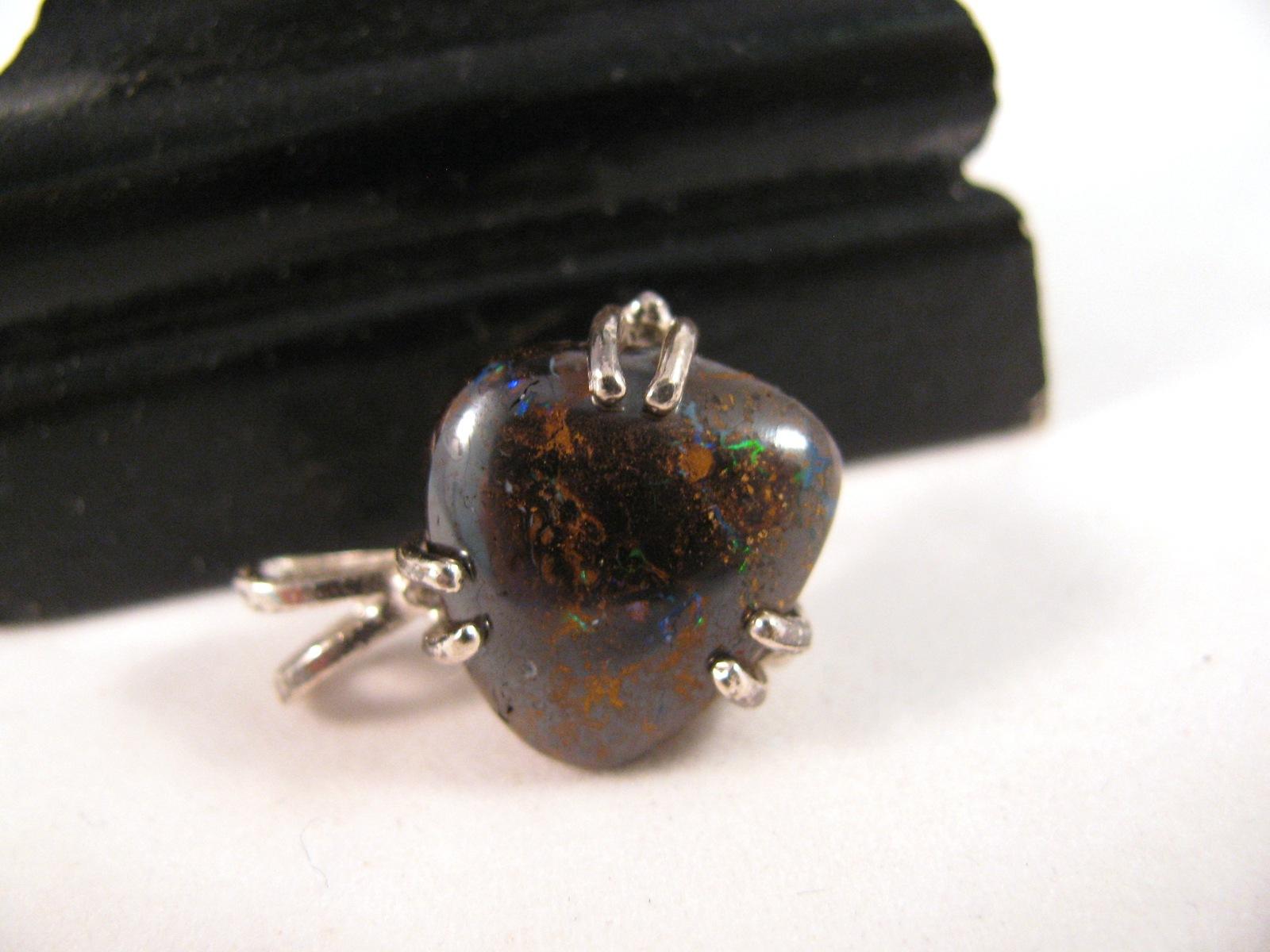 Subtle Sparky Boulder Opal Pendant Sterling Silver RKS504