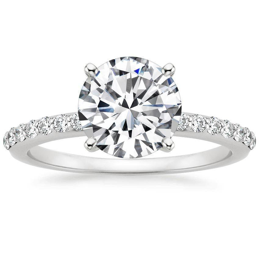1.00CT Forever One Moissanite 4 Prong White Gold Ring With Diamonds