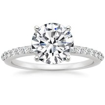 3.00CT Forever One Moissanite 4 Prong White Gold Ring With Diamonds - $1,611.72+