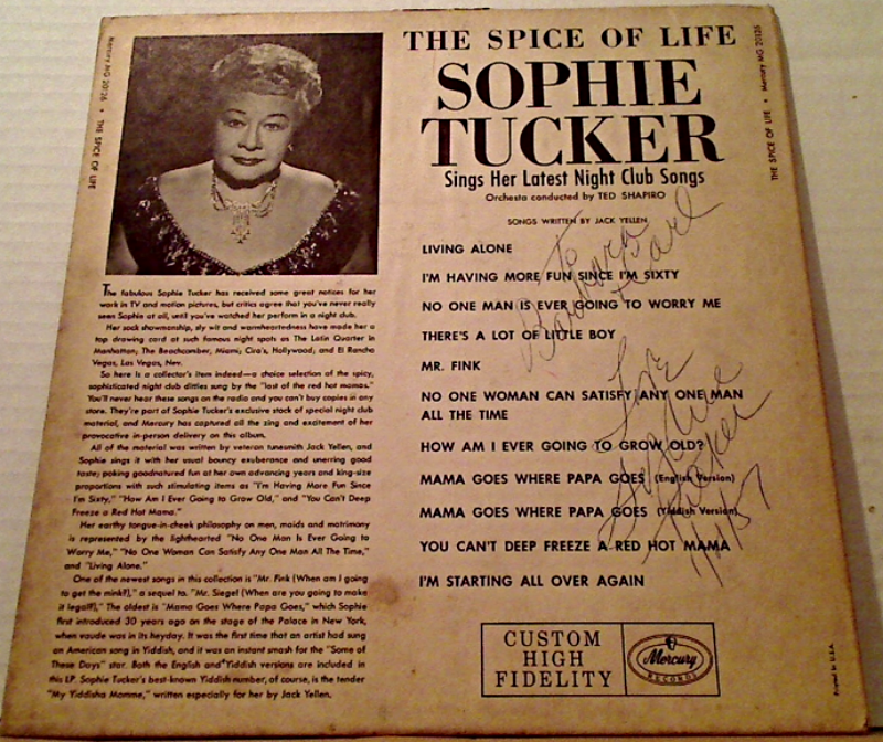 "Autographed Signed Sophie Tucker Record Album ""The Spice Of Life"""