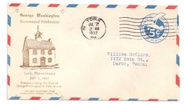 York PA 1932 George Washington Bicentennial Cover UC2 Wmk 28 - $4.99