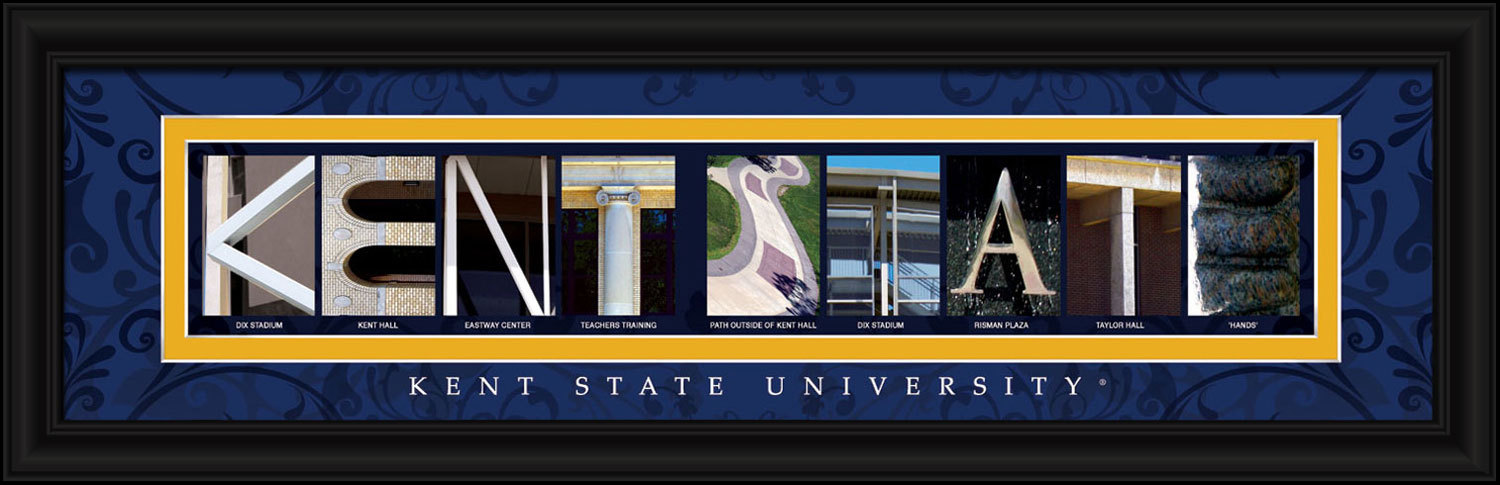 Kent State University Officially Licensed 8 x 24 Framed Campus Letter Art Print