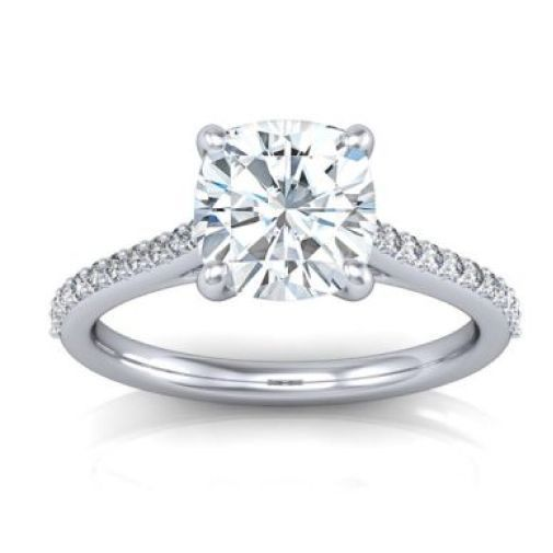 1.80CT Cushion Cut Forever One Moissanite White Gold Ring With Diamonds
