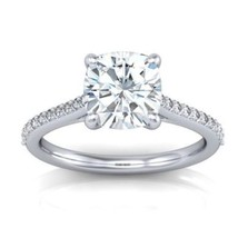 1.80CT Cushion Cut Forever One Moissanite White Gold Ring With Diamonds - $1,183.43+