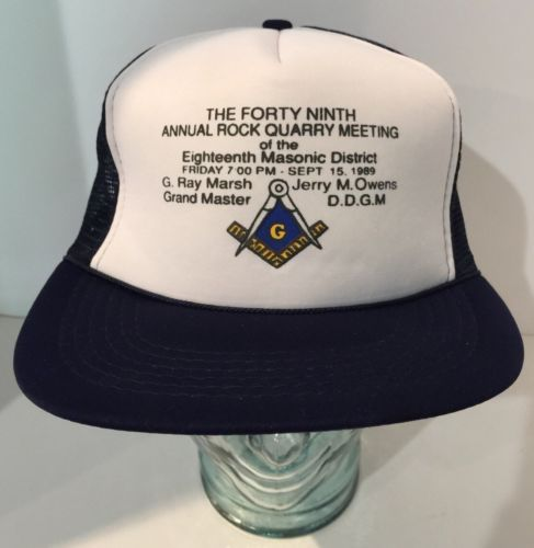 1989 Free Mason Trucker Hat Cap - 18th Masonic District - Rock Quarry Meeting
