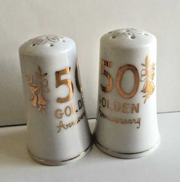 Golden 50th Anniversary Salt and Pepper Shakers Japan No H-735 Vintage